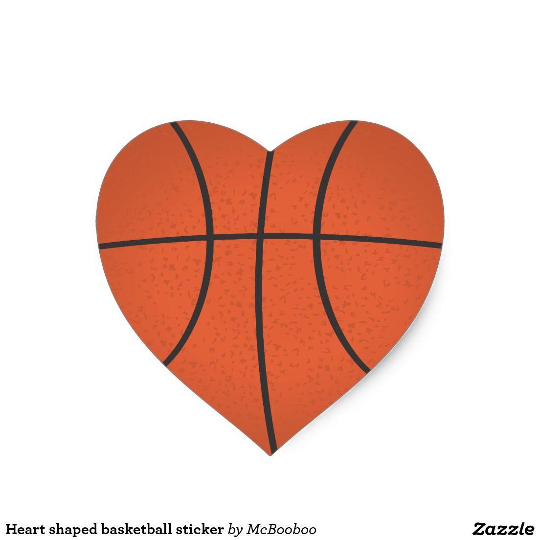 Heart Shaped Basketball Sticker Zazzle Com In 2020 Basketball Drawings Heart Shapes Basketball