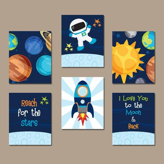 Outer Space Wall Art Baby Boy Nursery Space Pictures Love You To The Moon Back Canvas Or Arte Para Guardería Nursery Ideas Boy Guardería Del Espacio Exterior