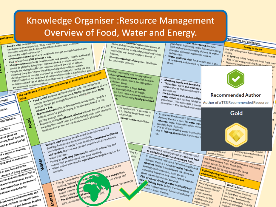 GCSE AQA 9-1: Resource Management Overview - Knowledge Organisers and Revision Summaries   Resource management, Aqa, Geography lessons