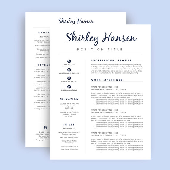 Professional Resume Template  Cv Template For By Easypeasyresume