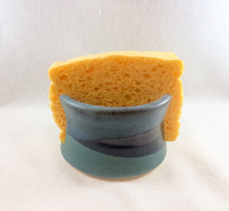 Stoneware Pottery Sponge Holder Green Black And Turquoise Glaze Prepossessing Kitchen Sponge Design Inspiration