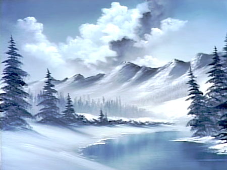 Blue Winter The Joy Of Painting S21e10 Winter Landscape Painting Landscape Paintings Acrylic Winter Painting
