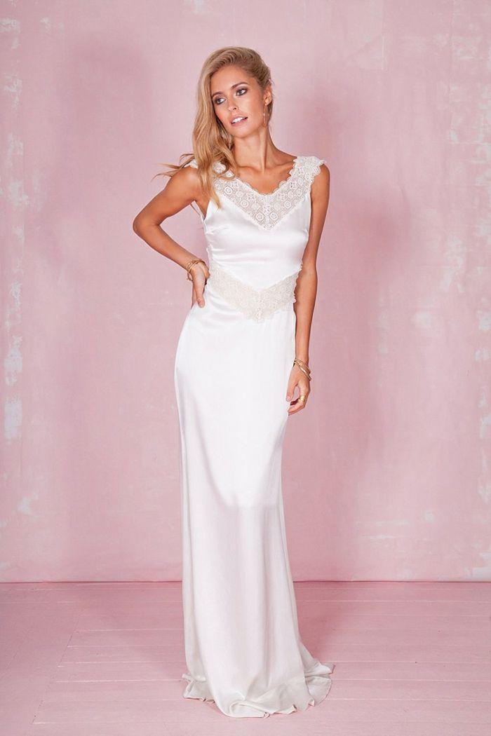 vestidos novia baratos, largo vestido con parte de encaje, corte ...