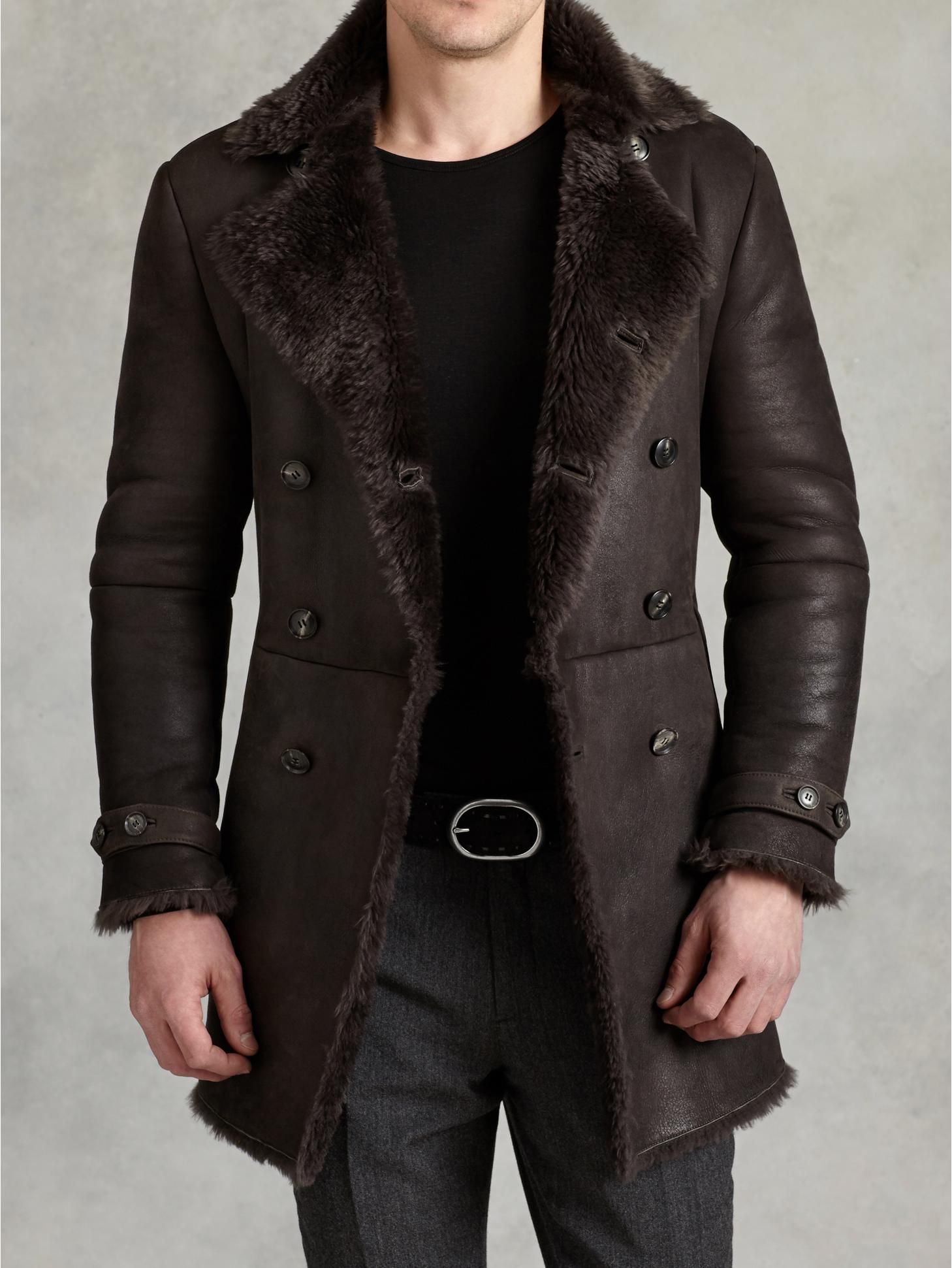 40d2e46618b Double Breasted Shearling Coat - John Varvatos More