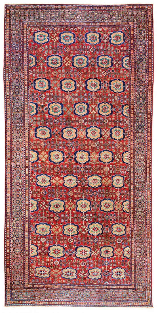 Kashgar with Rosettes East Turkestan 18th century 15 ft. 11in. x 7ft. 11in., 485 x 241 cm