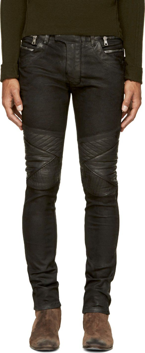 0cd72a0c Balmain Black Coated Biker Jeans | Fashion Interests | Biker jeans ...