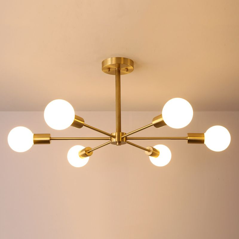 Nordic Modern Branching 6 8 Light Bedroom Semi Flush Mount In Gold