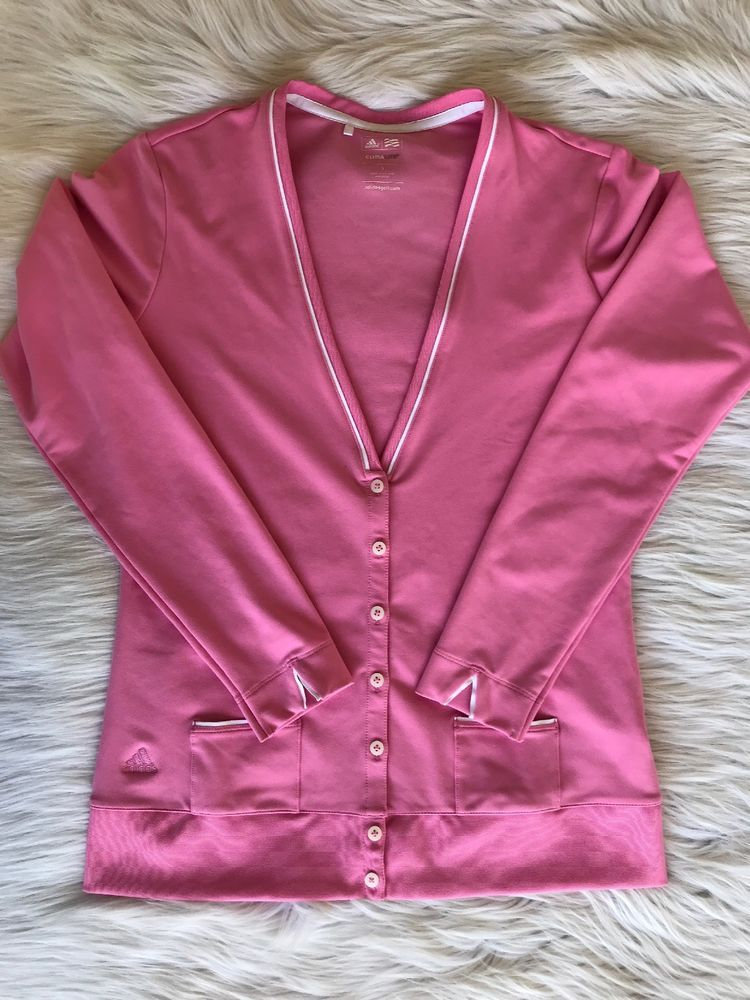 8e4b5b2aaed1 Adidas Climalite Womens Jacket Golf Button Up Small Pink Lightweight Long  Sleeve