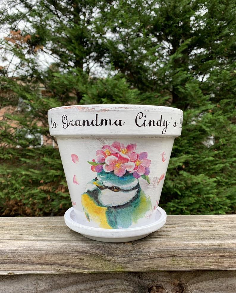 Custom flower pot personalized outdoor planter hand painted outdoor planter