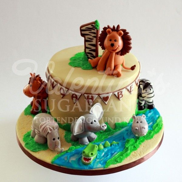 Afrika Themed Birthday Cake Zuckerfiguren Kuchen Und