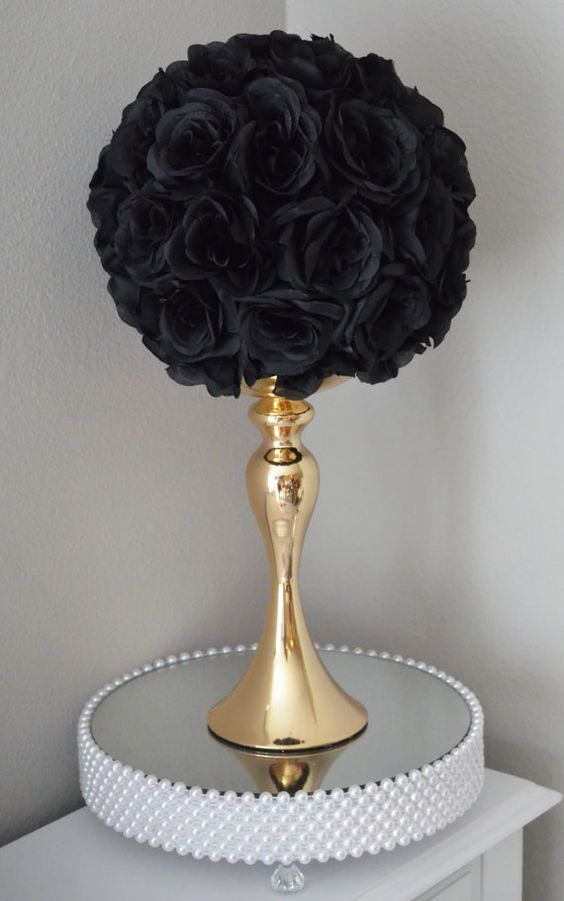 Black Kissing Ball Black Wedding Centerpiece Black Pomander Black