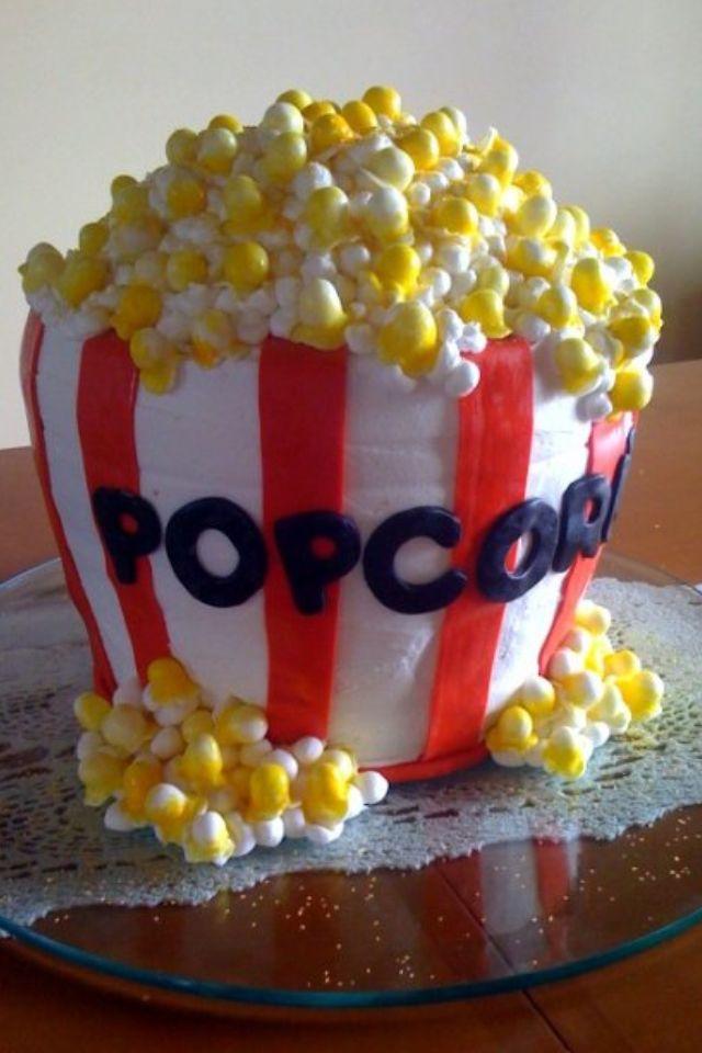 Popcorn Bucket Movie Theme Birthday Cake Cakes Pinterest - Movie themed birthday cake