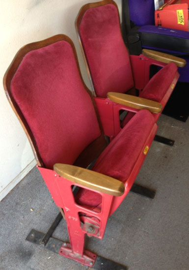 Vintage Antique Style Used Theater Seating Cast Iron Movie Cinema Seats Chairs Free Shipping