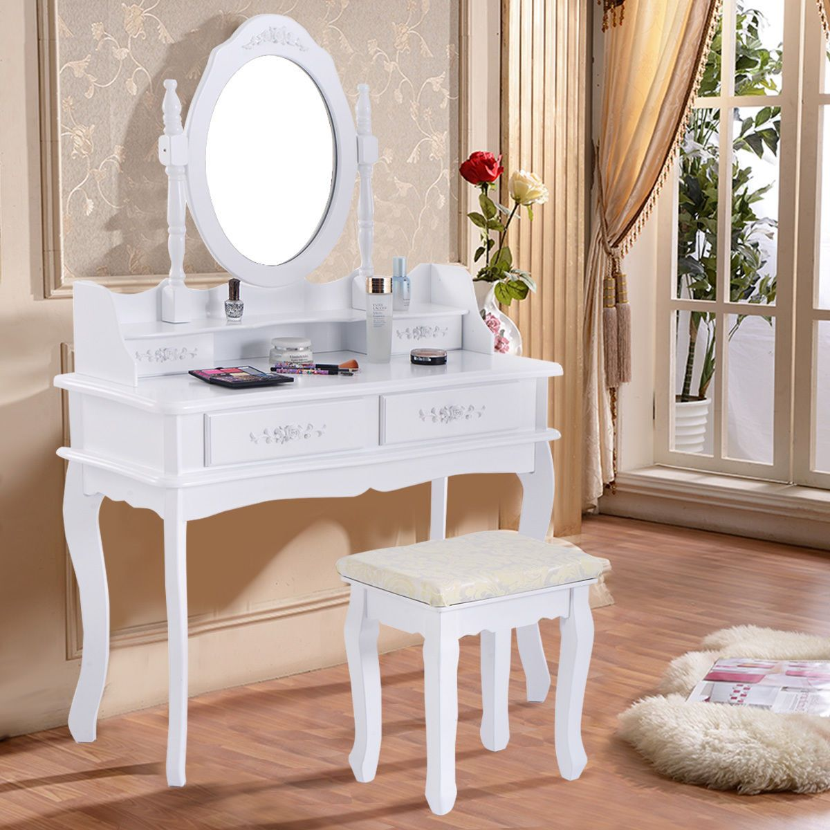 White Vanity Jewelry Makeup Dressing Table Set W/Stool 4