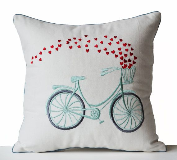 Decorative Throw Pillow Cover Heart Bicycle By AmoreBeaute On Etsy Magnificent Etsy Decorative Throw Pillows