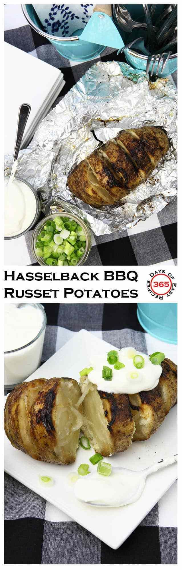 Hasselback BBQ Russet Potatoes #russetpotatorecipes