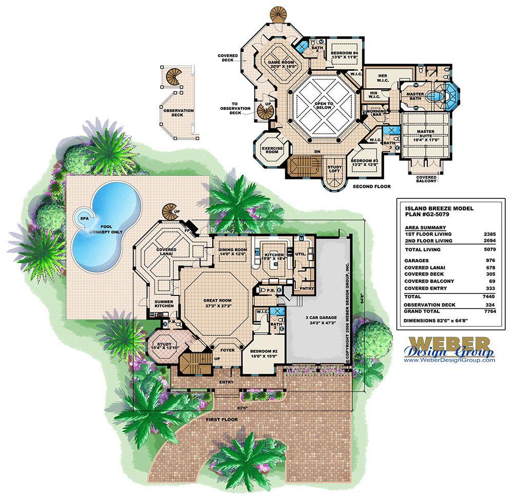 Beach House Plan 2 Story Coastal Caribbean Home Plan With Pool House Plans House Plans With Photos Beach House Plan