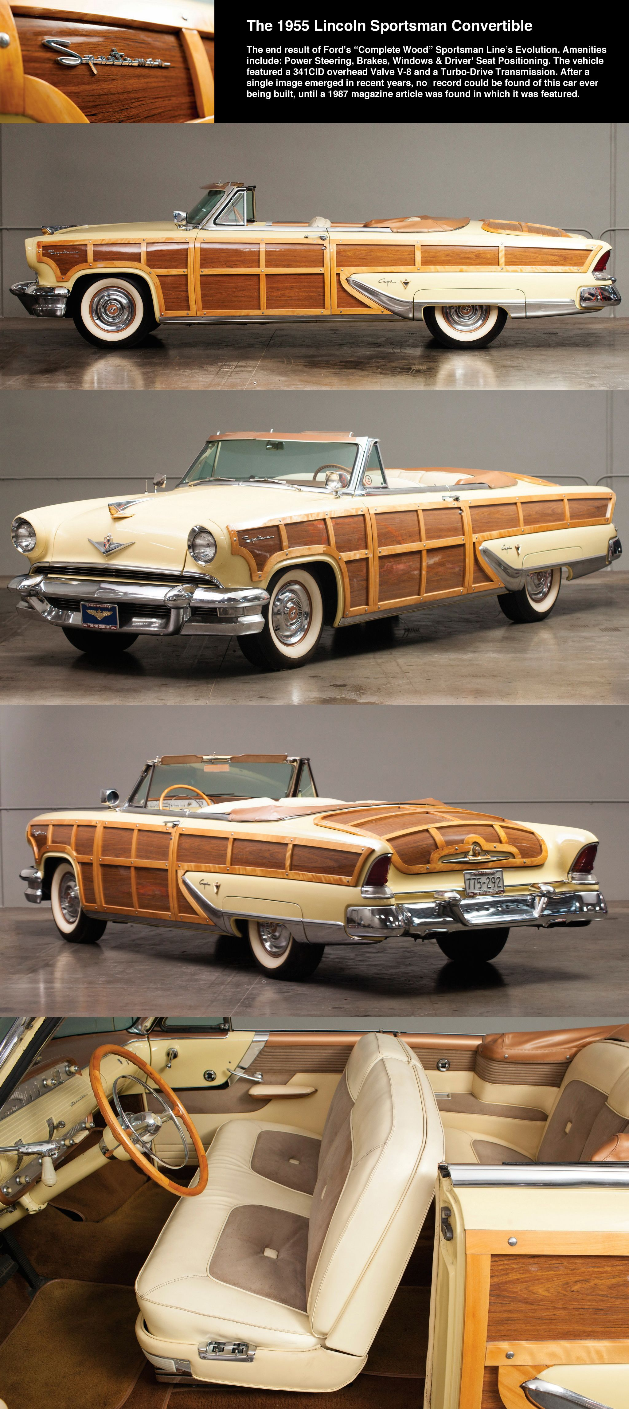 1955 Lincoln Capri SPORTSMAN Wood Paneled Convertible / Mystery ...