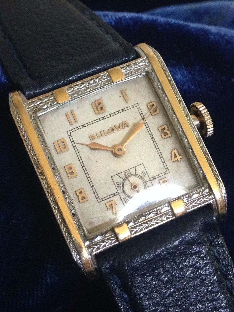Bulova Fleetwood Art Deco Chrome & Gold Back Fully Serviced #Hamilton