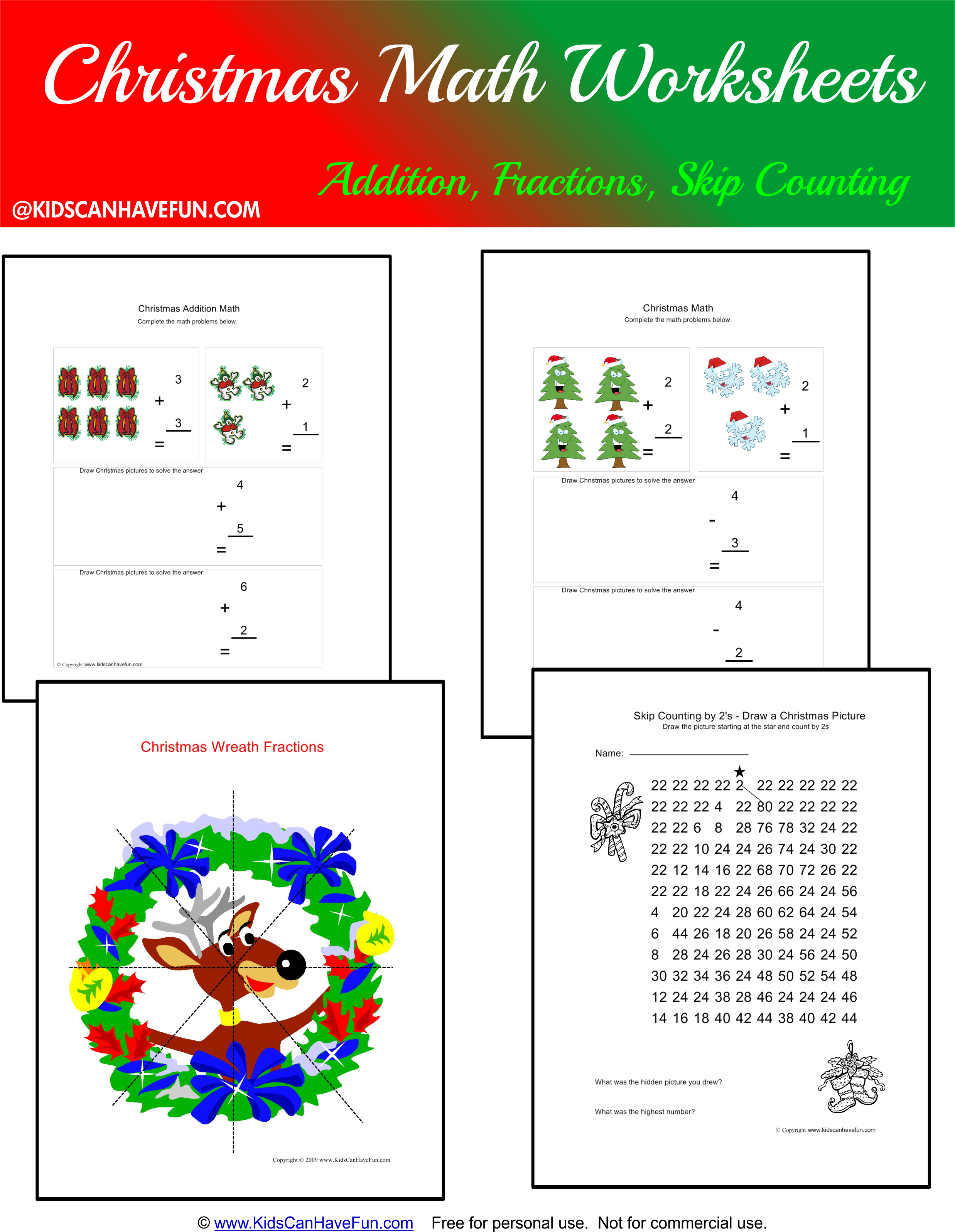 worksheet Free Christmas Math Worksheets free christmas math worksheets for the holidays httpwww kidscanhavefun com