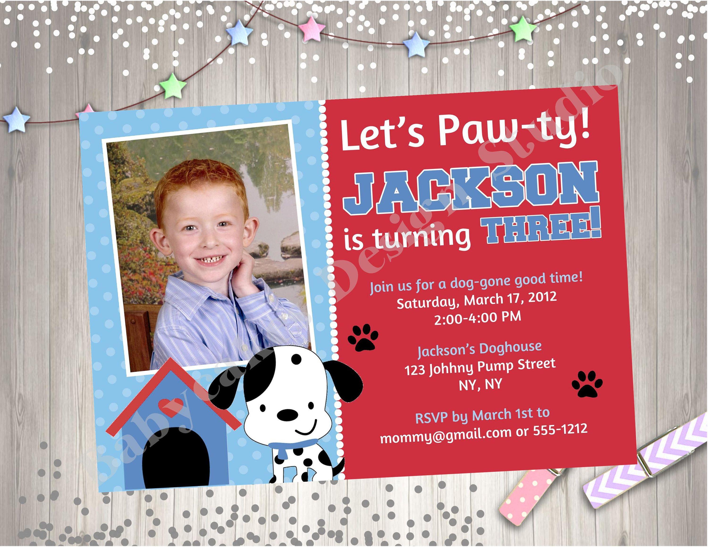 Puppy Party Birthday Invitation Invite Puppy Pawty Puppy Birthday ...