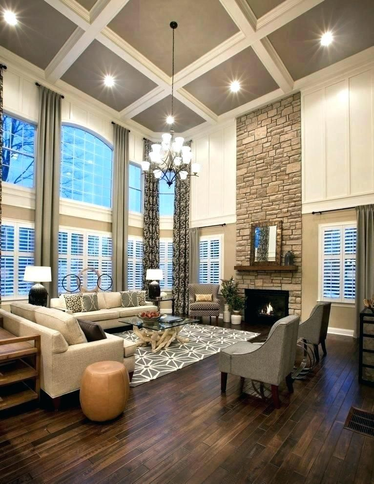 Kitchen Great Room Designs: Two Story Family Room Curtains Wonderful Stunning What