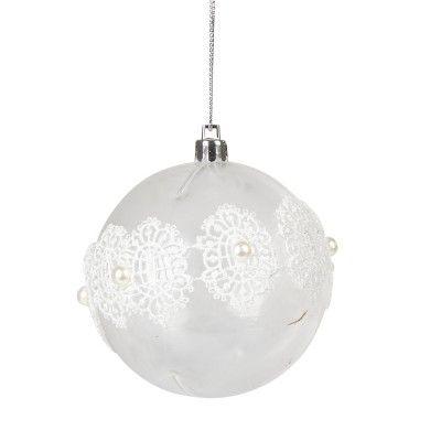 sapin no l d co de sapin boule suspension boule de noel transparente perle blanche et. Black Bedroom Furniture Sets. Home Design Ideas