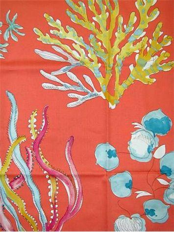 Ocean Coral. P. Kaufmann fabric tropical beach print. 100% ...