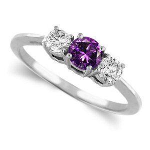 Large Diamond Engagement Rings Round 3 Stone Amethyst