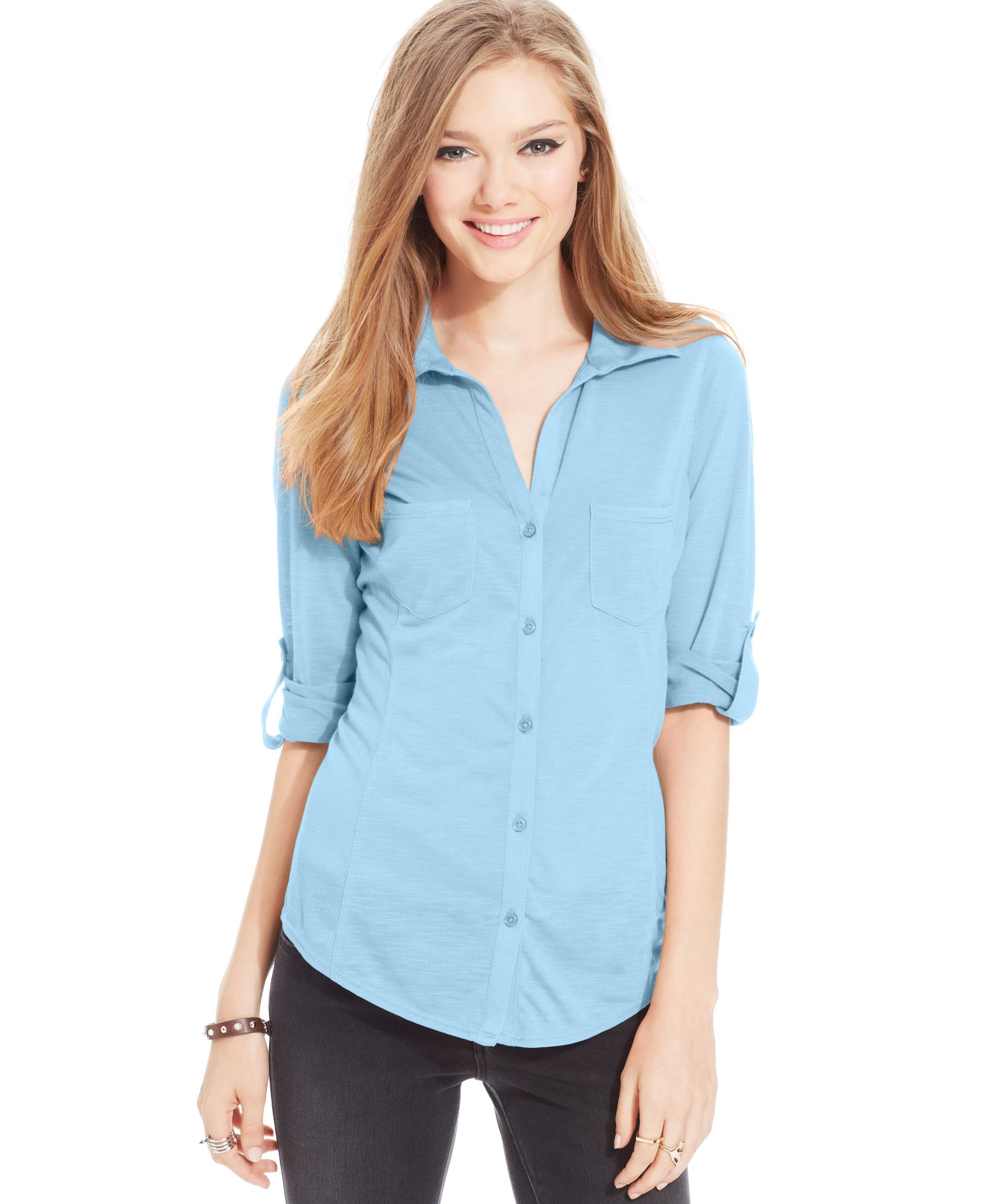 1ae723a2b2415 Almost Famous Juniors  Ribbed-Panel Button-Down Top