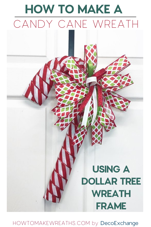 How To Make A Dollar Tree Candy Cane Door Hanger How To Make Wreaths Candy Cane Wreath Diy Candy Cane Wreath Tutorial Candy Cane Wreath