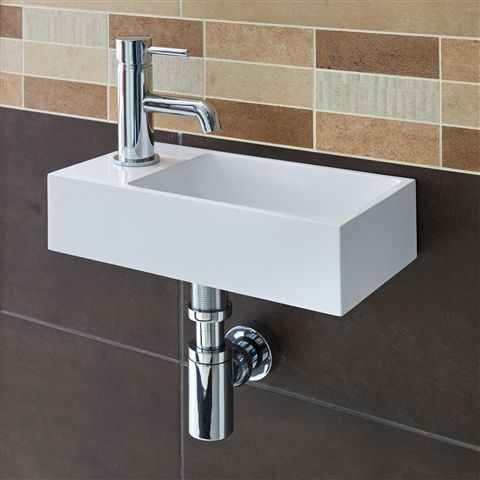 Crisp lines compact size perfect for a contemporary cloakroom 20 ft tiny house bathroom - Narrow cloakroom basin ...