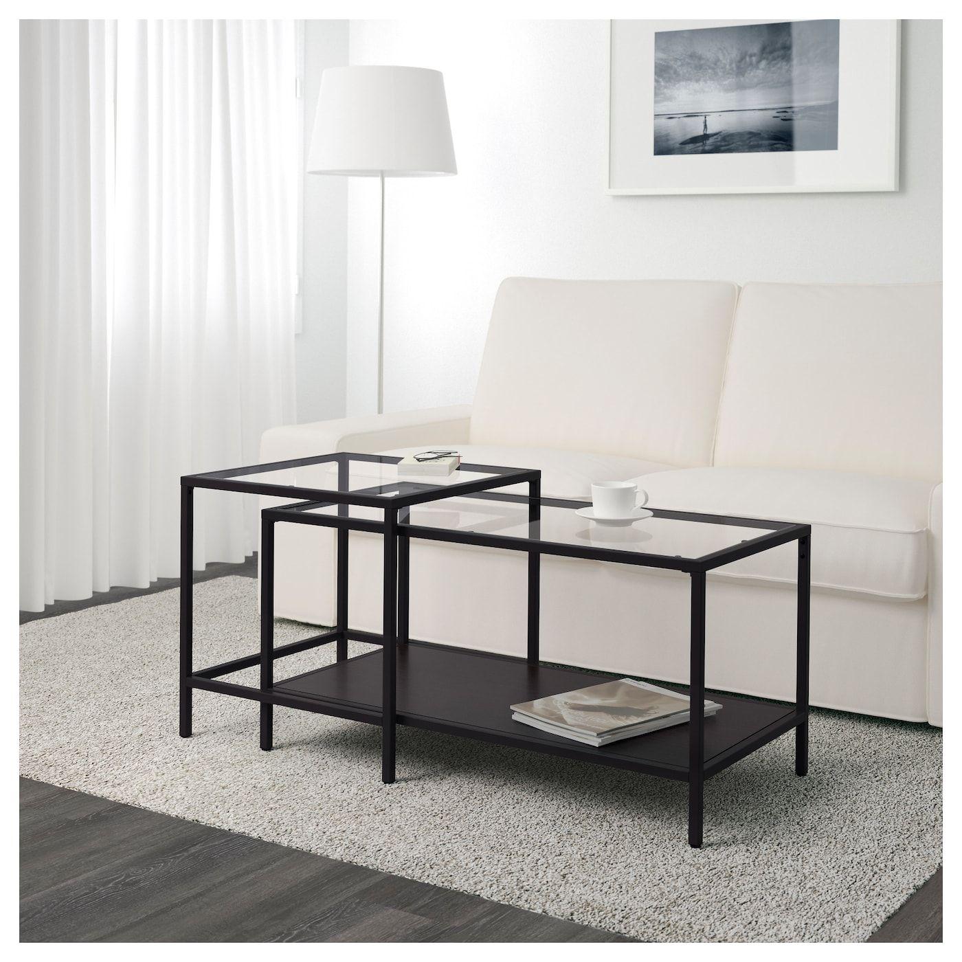 Ikea Tavoli Di Vetro.Vittsjo Set Di 2 Tavolini Marrone Nero Vetro 90x50 Cm