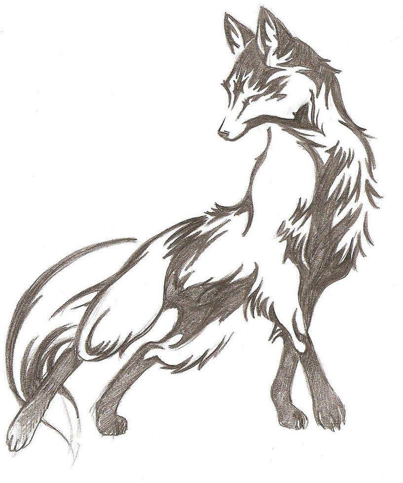 Fox Lines By ~katinkameserant On Deviantart Another Awesome Fox Tattoo Idea!