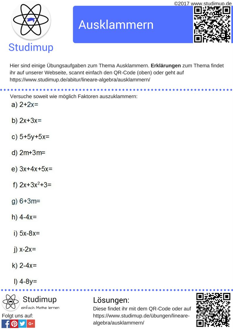 Übungen zum Ausklammern mit Lösungen zum ausdrucken. Mathe Aufgaben ...