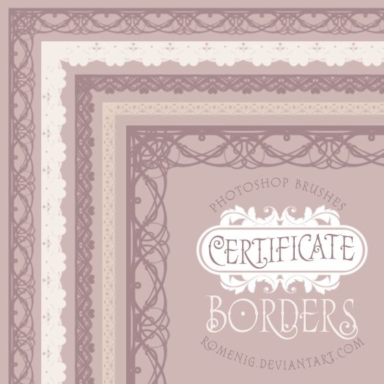 Efeito Photoshop Certificate Borders Free Brush Set Design - free download certificate borders