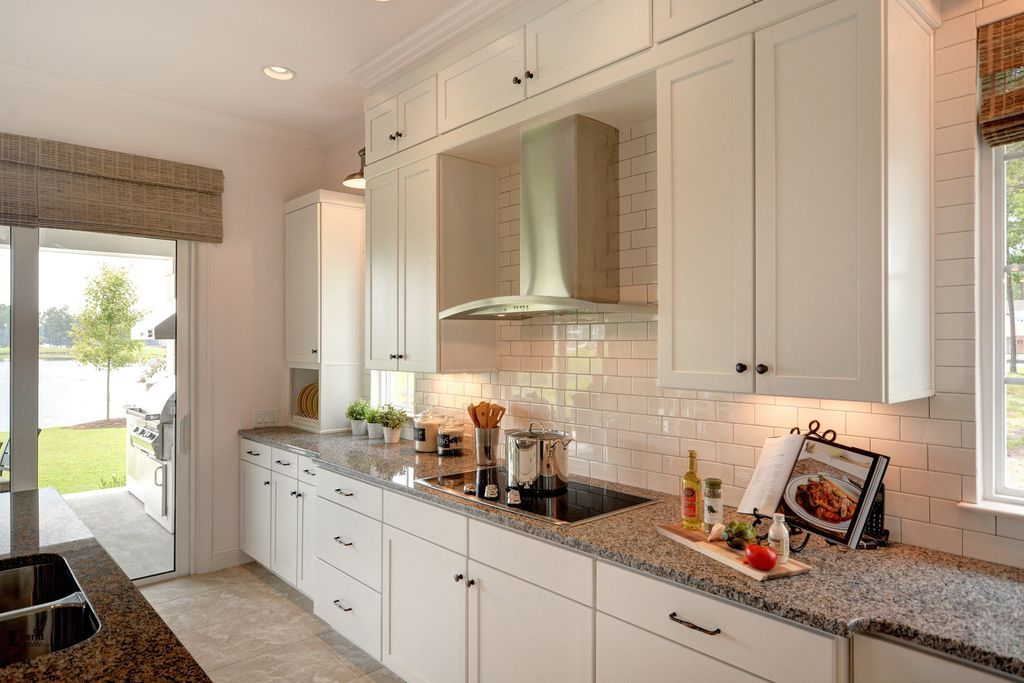 Contemporary Kitchen With Ferro Gold Granite Countertop Dune