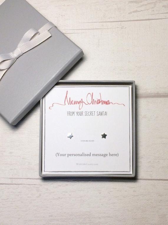 SECRET SANTA Gift, Personalised Present idea for her, Sterling Silver Star Earrings, Gift Boxed, fre #secretsantaideasforwork