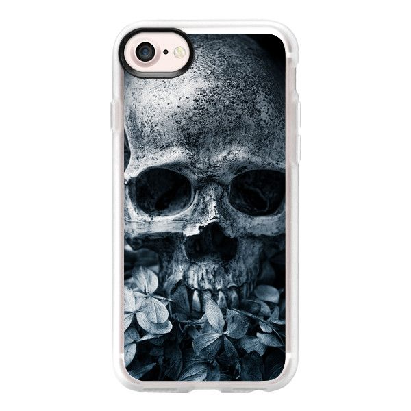 Skull Flowers II - iPhone 7 Case And Cover (£28) ❤ liked on Polyvore featuring accessories, tech accessories, phones, phone cases, electronics, tech, iphone case, clear iphone case, flower iphone case and apple iphone case