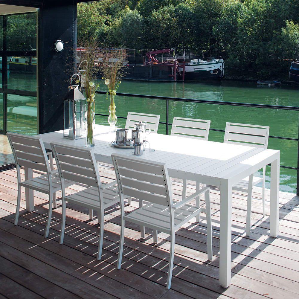 White Garden Table In Aluminium W 230cm Outdoor Furniture Sets