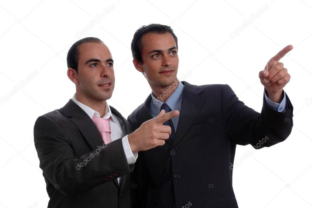Two Young Business Men Portrait Poiting White Stock Photo