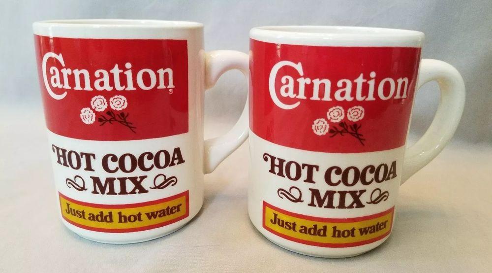 Carnation Hot Cocoa Mix Coffee Mugs Just Add Hot Water Set My Ebay