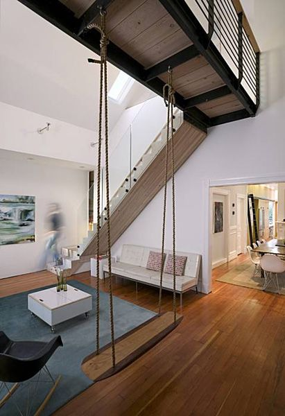 Found Lofted Living Room Swing Architecture Design