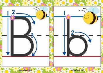 Alphabet Handwriting Cards with directional arrows - Buggy