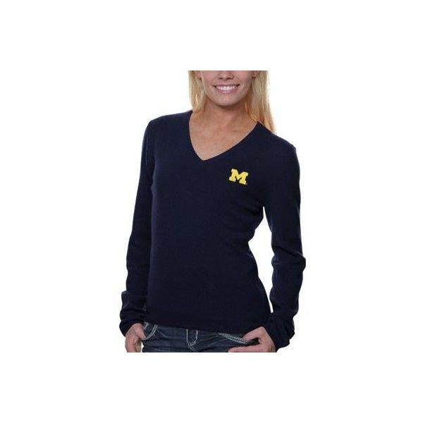 Michigan Wolverines Ladies V-Neck Cashmere Sweater Navy Blue ...