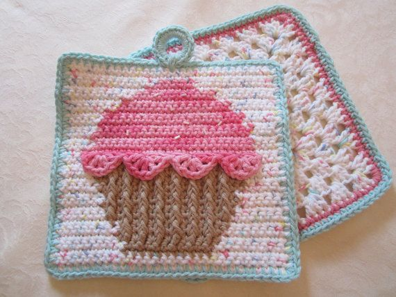 Crochet Cupcake Pot Holder Dishcloth Set Kitchen Decor Perfect