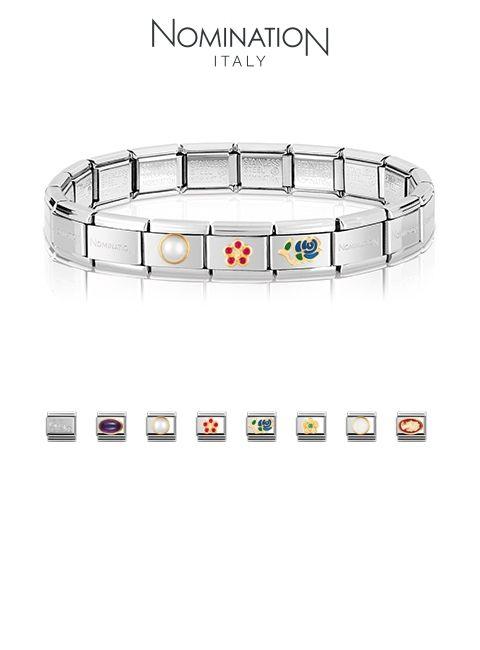 Nomination – composable bracelet  Rakennusohjelmasta puuttui seuraavat palat: ylioppilaslyyra, royal wedding ring (Dianan & Katherinen kihlasormus), emalimuumimamma, suomileijona ja ranskanlilja kolmella kivellä.
