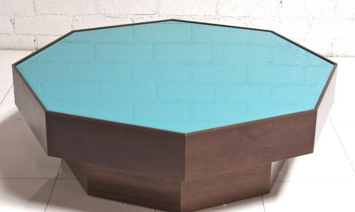 Walnut Turquoise Gl Coffee Table Room Service Love This Color