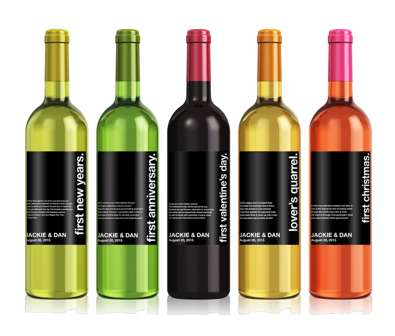 Wedding Milestones Wine Label Custom Personalized Bottle