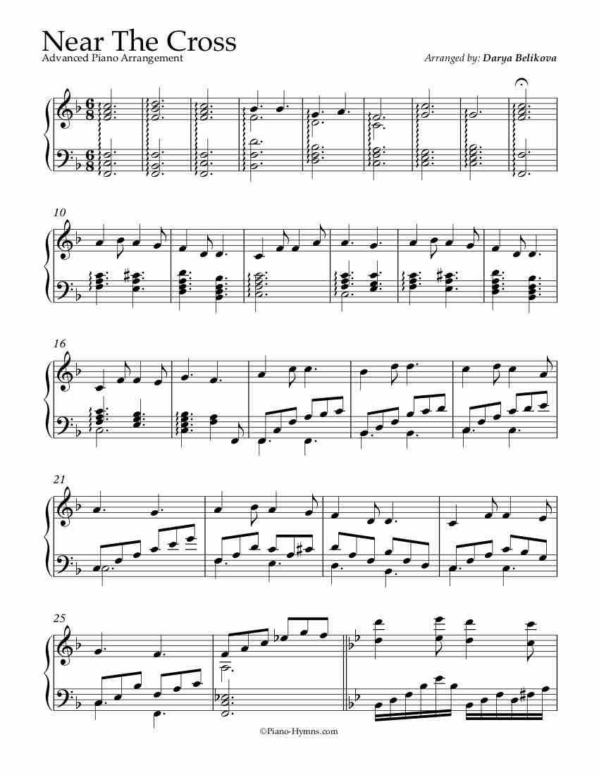 Free Piano Arrangement Near The Cross Advanced Free